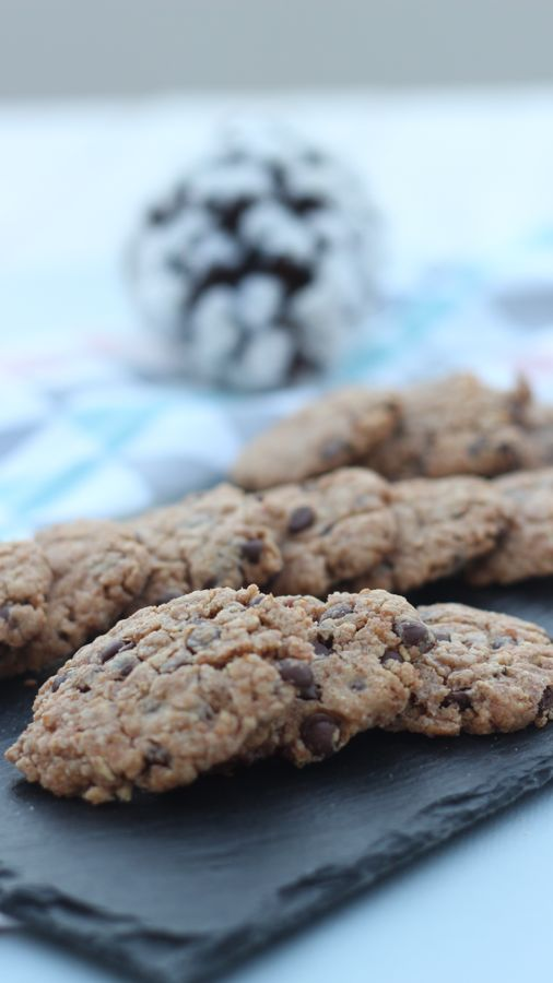 Voici ma recette des cookies à la farine d'épeautre et aux pépites de chocolat.