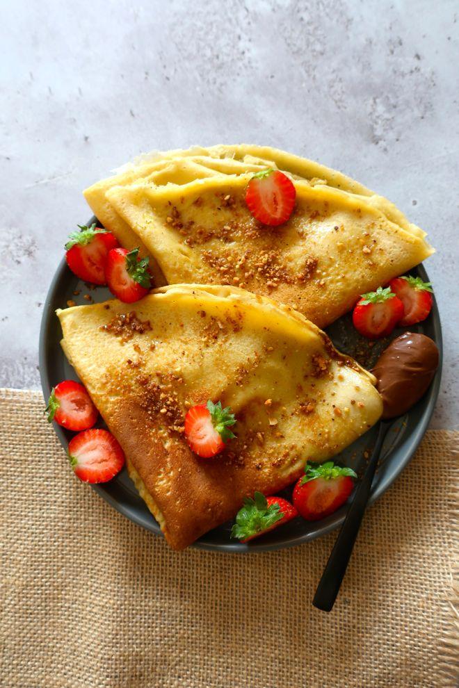Crêpes farine de patate douce, seulement des oeufs, du lait et de la farine Nutripure.